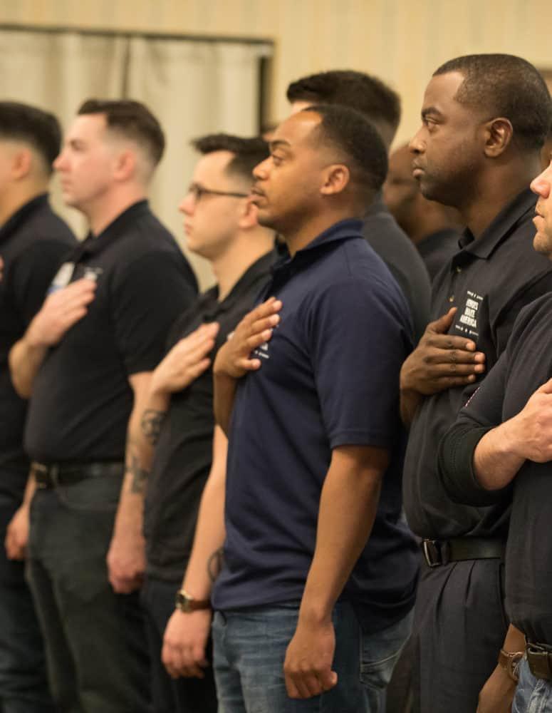 Veterans saying the pledge of allegiance