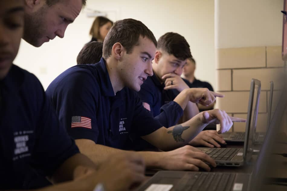 Military veteran participates in an online training