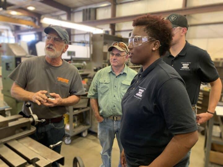Female veteran participates in hands-on manufacturing training program