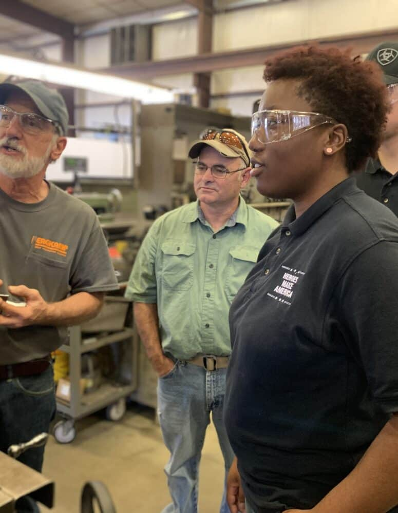 Female veteran participates in hands-on manufacturing training program