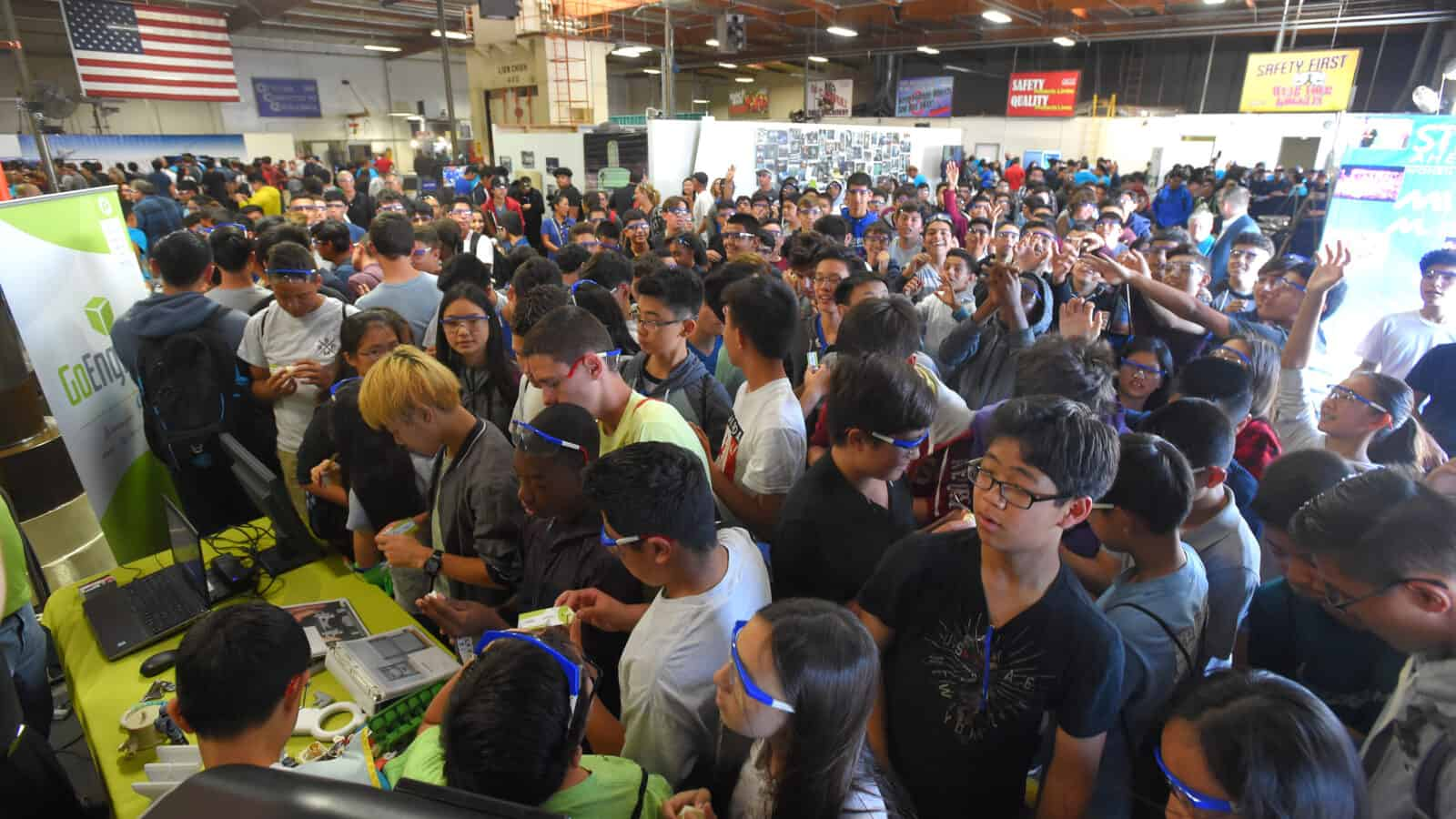 COMPTON, CA - 10/06/2017 - (Photo: Scott Varley, for NAM) Carolyn Lee, Executive Director of the Manufacturing Institute, joins Kellie Johnson, president and CEO of ACE Clearwater for National Manufacturing Day with over 600 local students. This is the fifth time that Ace Clearwater has hosted MFGDAY.